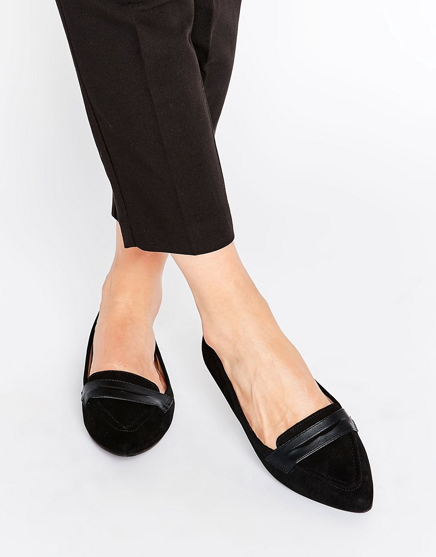 Pointed Flat Pump Black - predominant colour: black; occasions: casual, work, creative work; material: suede; heel height: flat; toe: pointed toe; style: ballerinas / pumps; finish: plain; pattern: plain; wardrobe: basic; season: a/w 2016