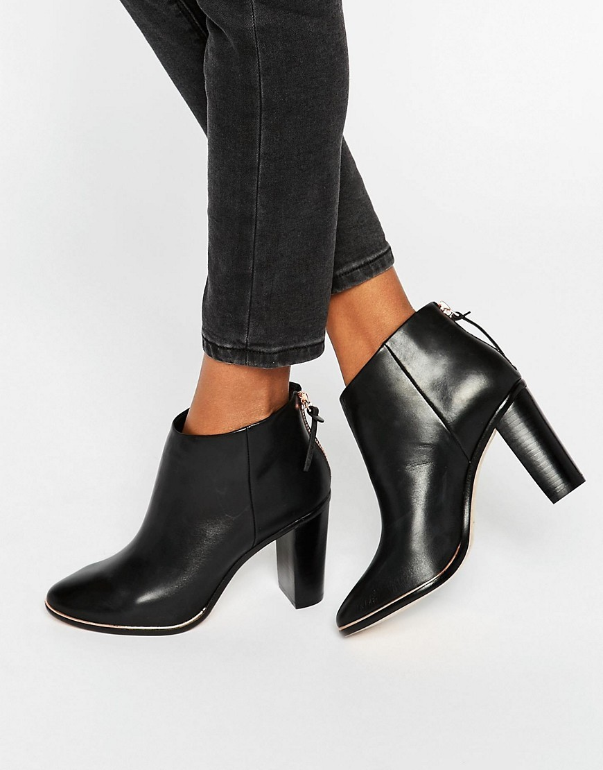 Lorca Leather Heeled Ankle Boots Black Leather - predominant colour: black; occasions: casual, work, creative work; material: leather; heel: block; toe: pointed toe; boot length: ankle boot; style: standard; finish: plain; pattern: plain; heel height: very high; season: a/w 2016; wardrobe: highlight
