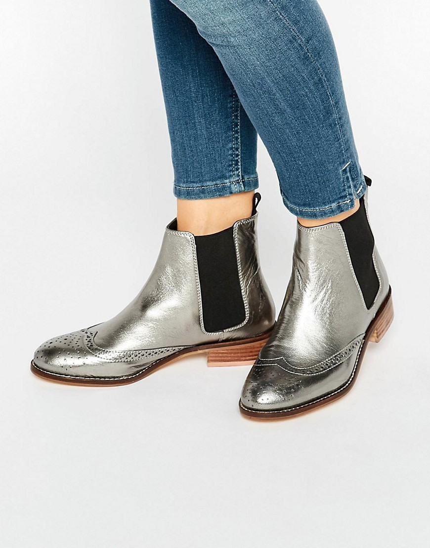 Quentin Pewter Metallic Leather Brogue Chelsea Boots Pewter Metallic - occasions: casual, creative work; material: leather; heel height: flat; heel: block; toe: round toe; boot length: ankle boot; style: standard; finish: metallic; pattern: plain; predominant colour: pewter; season: a/w 2016