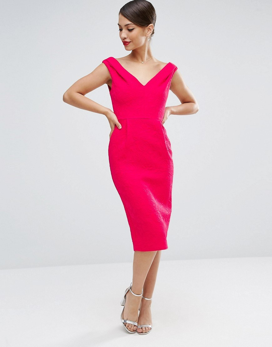 Pencil Dress With Bardot Neckline In Textured Jacquard Pink - style: shift; length: below the knee; neckline: off the shoulder; fit: tailored/fitted; pattern: plain; sleeve style: sleeveless; predominant colour: hot pink; occasions: evening; fibres: polyester/polyamide - 100%; sleeve length: sleeveless; pattern type: fabric; texture group: brocade/jacquard; season: a/w 2016