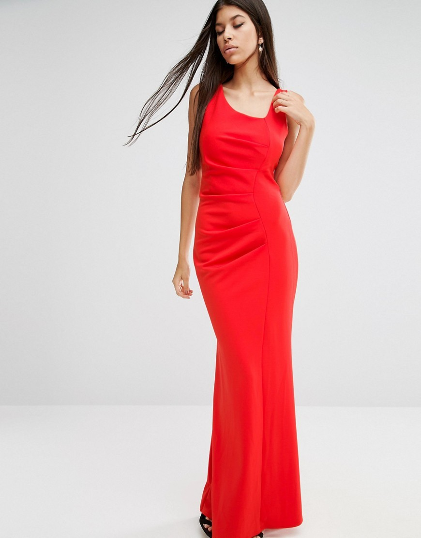 Tailored Maxi Dress Red - neckline: round neck; pattern: plain; sleeve style: sleeveless; style: maxi dress; predominant colour: true red; occasions: evening; length: floor length; fit: body skimming; fibres: polyester/polyamide - stretch; sleeve length: sleeveless; pattern type: fabric; texture group: jersey - stretchy/drapey; season: a/w 2016; wardrobe: event