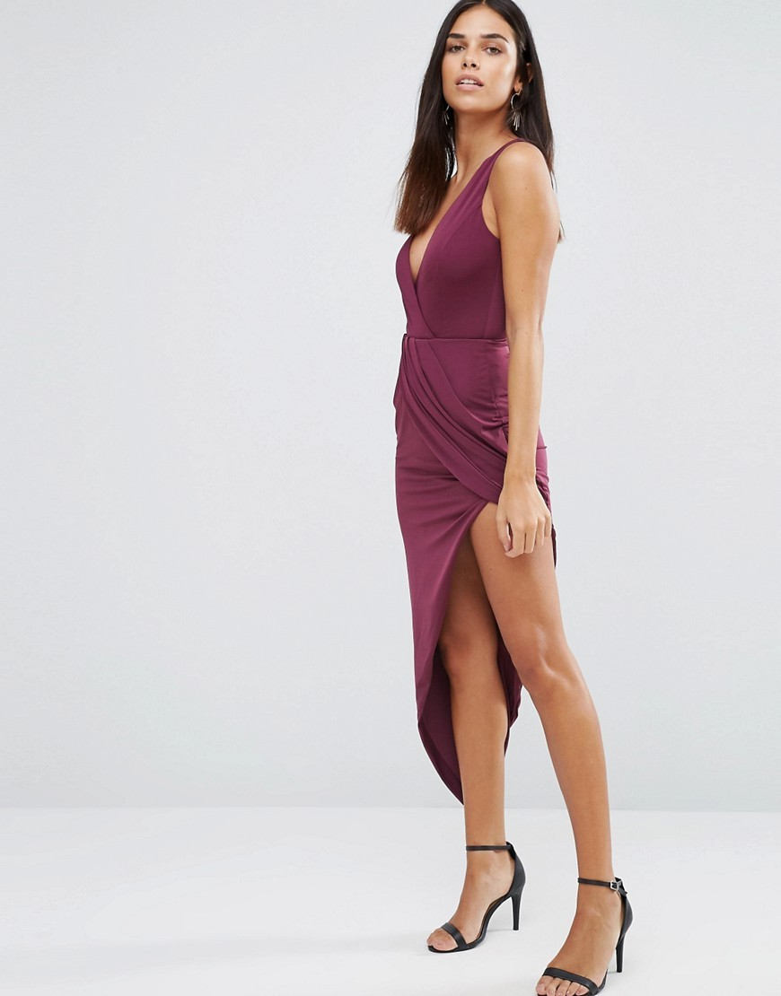 Asymmetric Maxi Dress In Slinky Plum - length: mini; neckline: low v-neck; sleeve style: spaghetti straps; fit: tight; pattern: plain; predominant colour: magenta; occasions: evening; style: asymmetric (hem); fibres: polyester/polyamide - 100%; sleeve length: sleeveless; texture group: jersey - clingy; pattern type: fabric; season: a/w 2016; wardrobe: event