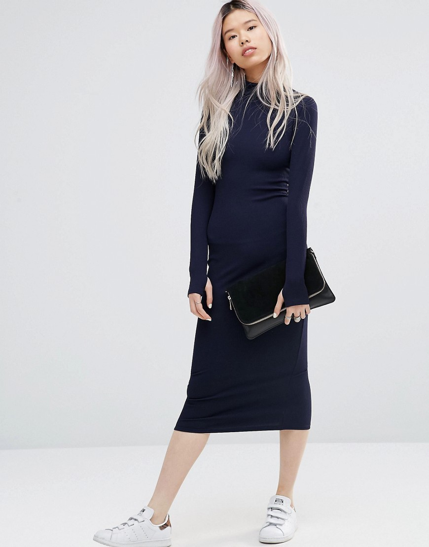 Midi Dress With High Neck Navy - length: calf length; fit: tight; pattern: plain; neckline: high neck; style: bodycon; predominant colour: navy; occasions: casual, evening; fibres: polyester/polyamide - stretch; sleeve length: long sleeve; sleeve style: standard; texture group: jersey - clingy; pattern type: fabric; wardrobe: basic; season: a/w 2016
