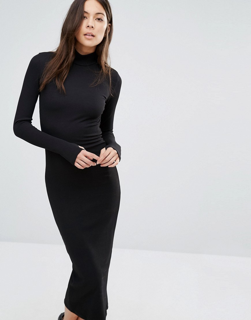 Midi Dress With High Neck Black - style: shift; length: calf length; predominant colour: black; occasions: evening; fit: body skimming; fibres: polyester/polyamide - stretch; neckline: crew; sleeve length: long sleeve; sleeve style: standard; texture group: jersey - clingy; pattern type: fabric; pattern size: standard; pattern: patterned/print; season: a/w 2016; wardrobe: event