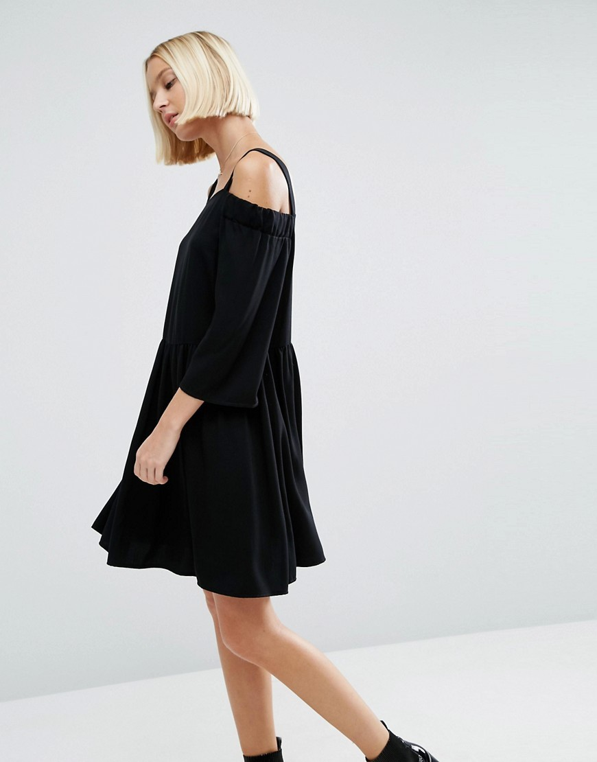Cold Shoulder Smock Dress In Twill Fabric Black - style: shift; length: mid thigh; neckline: round neck; pattern: plain; predominant colour: black; occasions: evening; fit: soft a-line; fibres: viscose/rayon - 100%; shoulder detail: cut out shoulder; sleeve length: 3/4 length; sleeve style: standard; pattern type: fabric; pattern size: standard; texture group: jersey - stretchy/drapey; season: a/w 2016; wardrobe: event