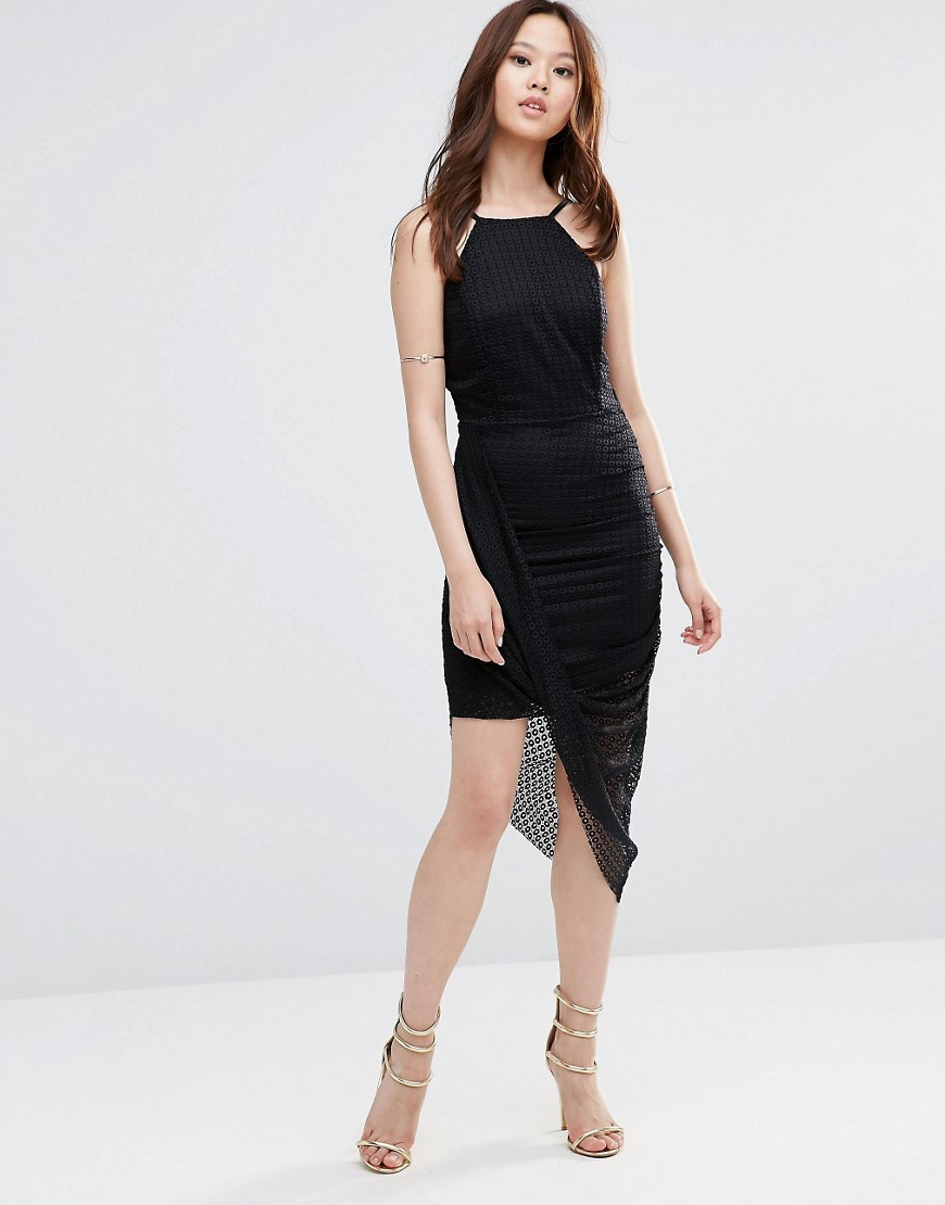 Lace Dress With Aysemmetric Hem Black - length: mid thigh; neckline: round neck; sleeve style: spaghetti straps; fit: tight; pattern: plain; predominant colour: black; occasions: evening, occasion; style: asymmetric (hem); fibres: polyester/polyamide - stretch; sleeve length: sleeveless; texture group: jersey - clingy; pattern type: fabric; pattern size: standard; season: a/w 2016; wardrobe: event