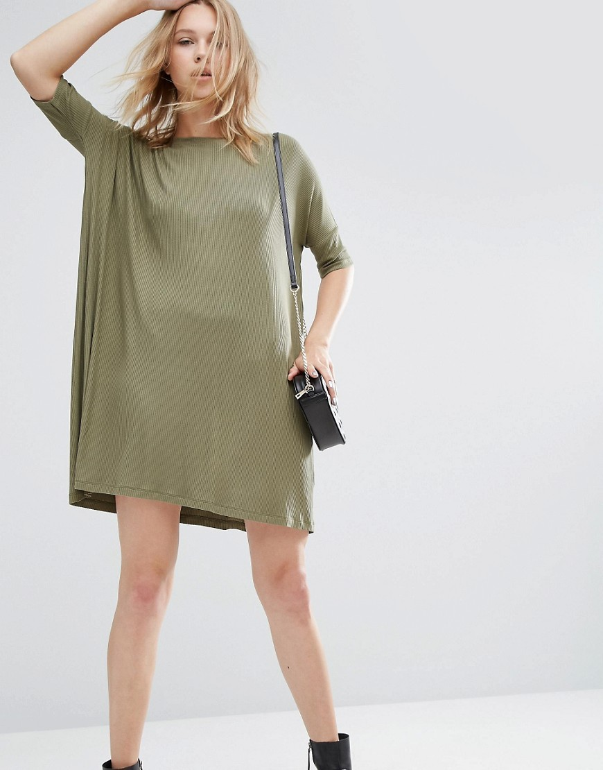 T Shirt Dress In Rib Khaki - style: tunic; pattern: plain; predominant colour: khaki; occasions: casual, creative work; length: just above the knee; fit: straight cut; fibres: viscose/rayon - stretch; neckline: crew; sleeve length: half sleeve; sleeve style: standard; pattern type: fabric; texture group: other - light to midweight; season: a/w 2016