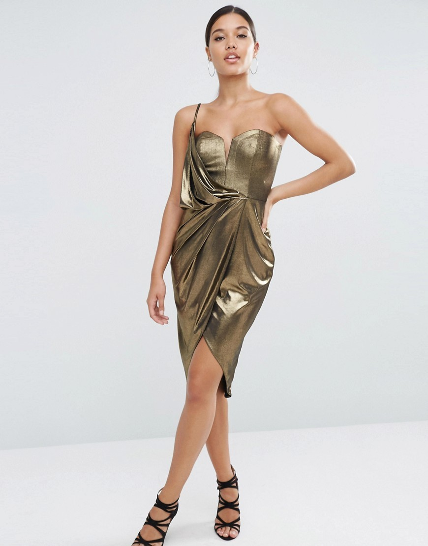Asymmetric Wrap Front Midi Metallic Dress Gold - pattern: plain; sleeve style: sleeveless; neckline: asymmetric; predominant colour: gold; occasions: evening, occasion; length: just above the knee; fit: body skimming; style: asymmetric (hem); fibres: polyester/polyamide - stretch; sleeve length: sleeveless; texture group: jersey - clingy; pattern type: fabric; pattern size: standard; season: a/w 2016