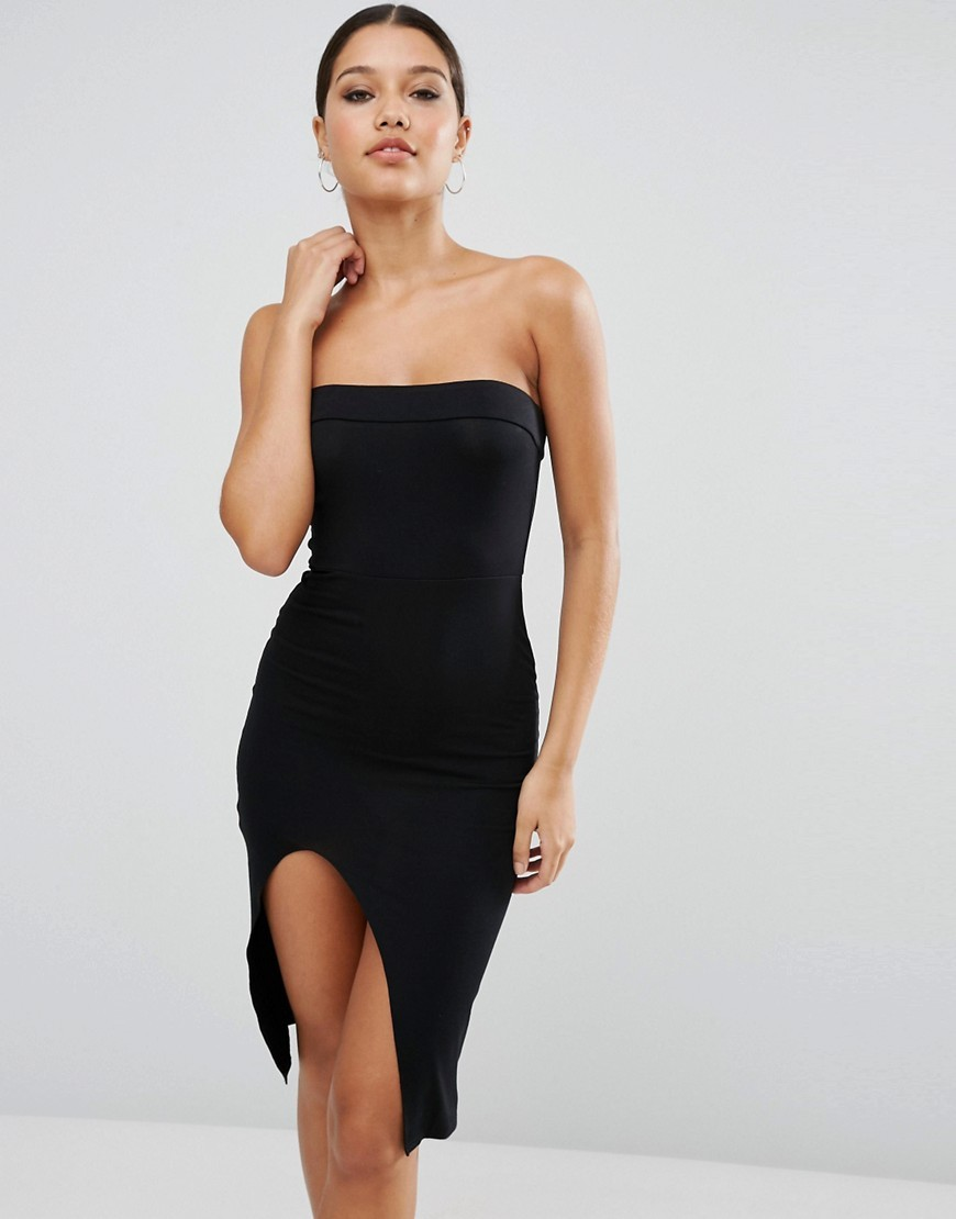 Strapless Midi Bodycon With Curved Splits Black - neckline: strapless (straight/sweetheart); fit: tight; pattern: plain; sleeve style: strapless; style: bodycon; hip detail: draws attention to hips; predominant colour: black; occasions: evening; length: on the knee; fibres: polyester/polyamide - stretch; sleeve length: sleeveless; texture group: jersey - clingy; pattern type: fabric; season: a/w 2016; wardrobe: event