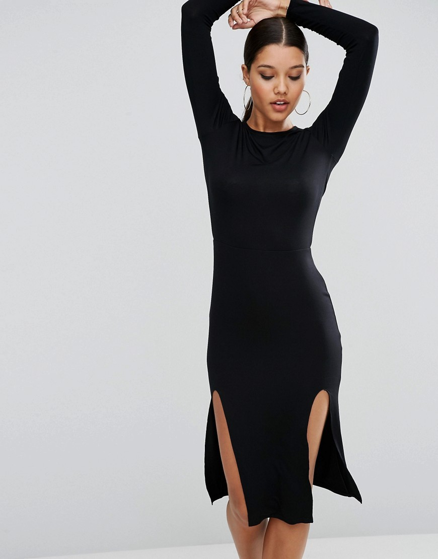 Long Sleeve Midi Bodycon Dress With Curved Splits Black - fit: tight; pattern: plain; style: bodycon; hip detail: draws attention to hips; predominant colour: black; occasions: evening; length: on the knee; fibres: polyester/polyamide - stretch; neckline: crew; sleeve length: long sleeve; sleeve style: standard; texture group: jersey - clingy; pattern type: fabric; season: a/w 2016; wardrobe: event
