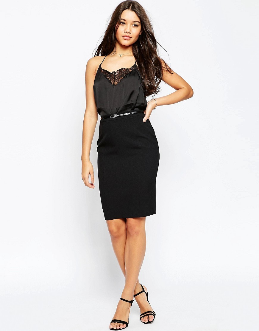 Belted Pencil Skirt With Seam Detail Black - pattern: plain; style: pencil; fit: tailored/fitted; waist: high rise; waist detail: belted waist/tie at waist/drawstring; predominant colour: black; occasions: work; length: on the knee; fibres: polyester/polyamide - 100%; pattern type: fabric; texture group: woven light midweight; season: a/w 2016