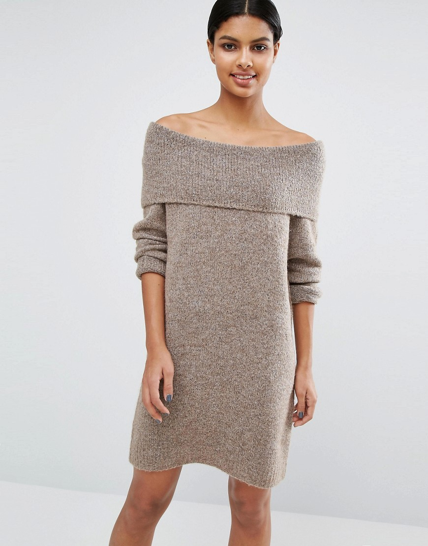 Off Shoulder Knitted Dress Grey - style: jumper dress; neckline: off the shoulder; pattern: tartan; predominant colour: stone; occasions: casual; length: just above the knee; fit: body skimming; fibres: acrylic - mix; sleeve length: long sleeve; sleeve style: standard; texture group: knits/crochet; pattern type: knitted - other; season: a/w 2016