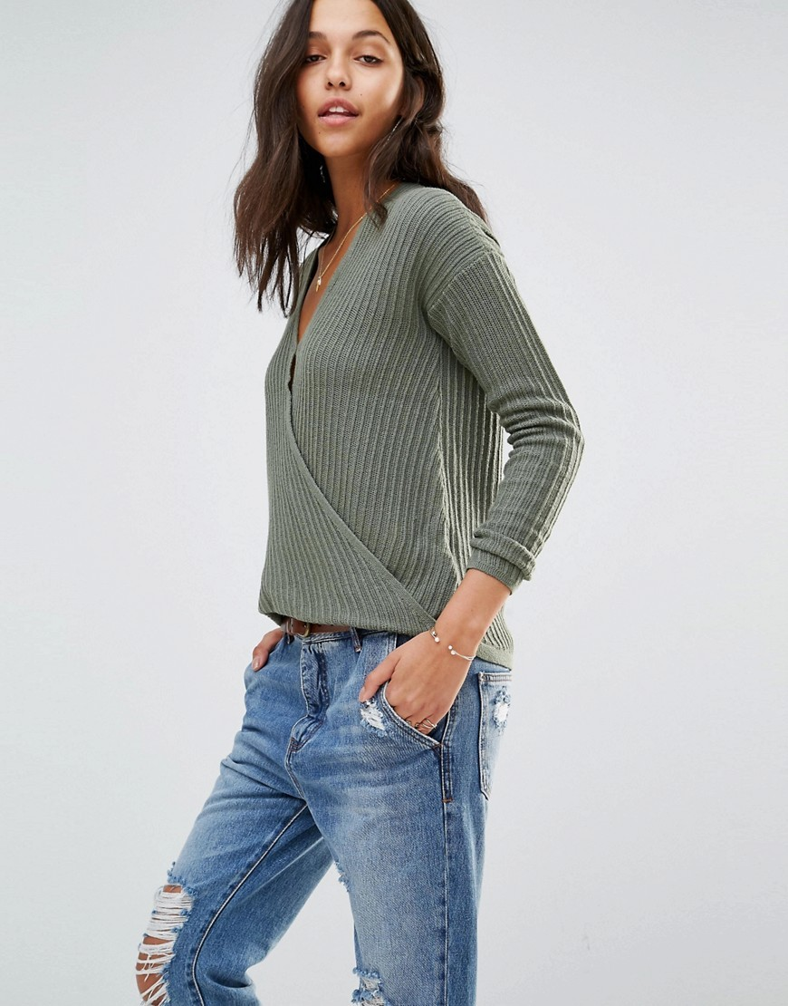 Wrap Front Ballerina Knit Sweater Olive - neckline: v-neck; pattern: plain; style: faux wrap/wrap; hip detail: fitted at hip; predominant colour: mid grey; occasions: casual; length: standard; fibres: cotton - mix; fit: standard fit; sleeve length: long sleeve; sleeve style: standard; texture group: knits/crochet; pattern type: knitted - fine stitch; wardrobe: basic; season: a/w 2016