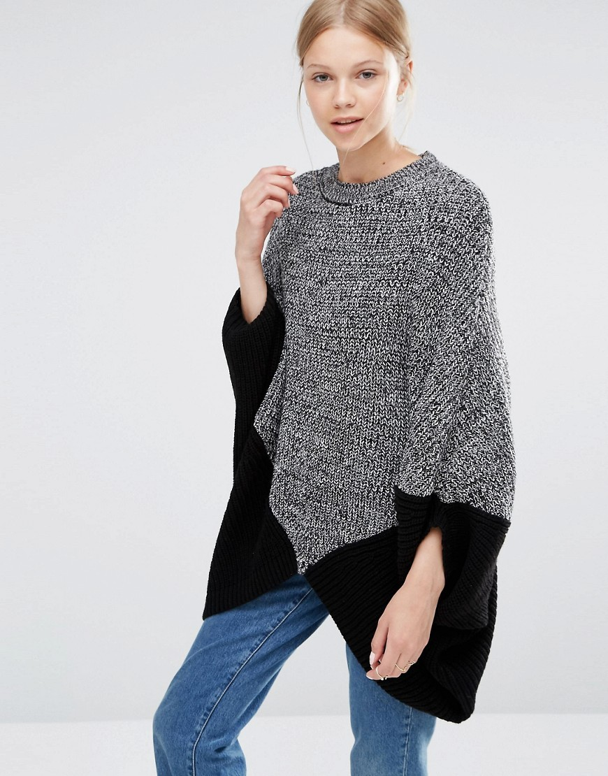 Poncho Jumper Black - length: below the bottom; style: standard; predominant colour: mid grey; secondary colour: black; occasions: casual; fibres: acrylic - 100%; fit: loose; neckline: crew; sleeve length: long sleeve; sleeve style: standard; texture group: knits/crochet; pattern type: knitted - fine stitch; pattern: colourblock; multicoloured: multicoloured; season: a/w 2016