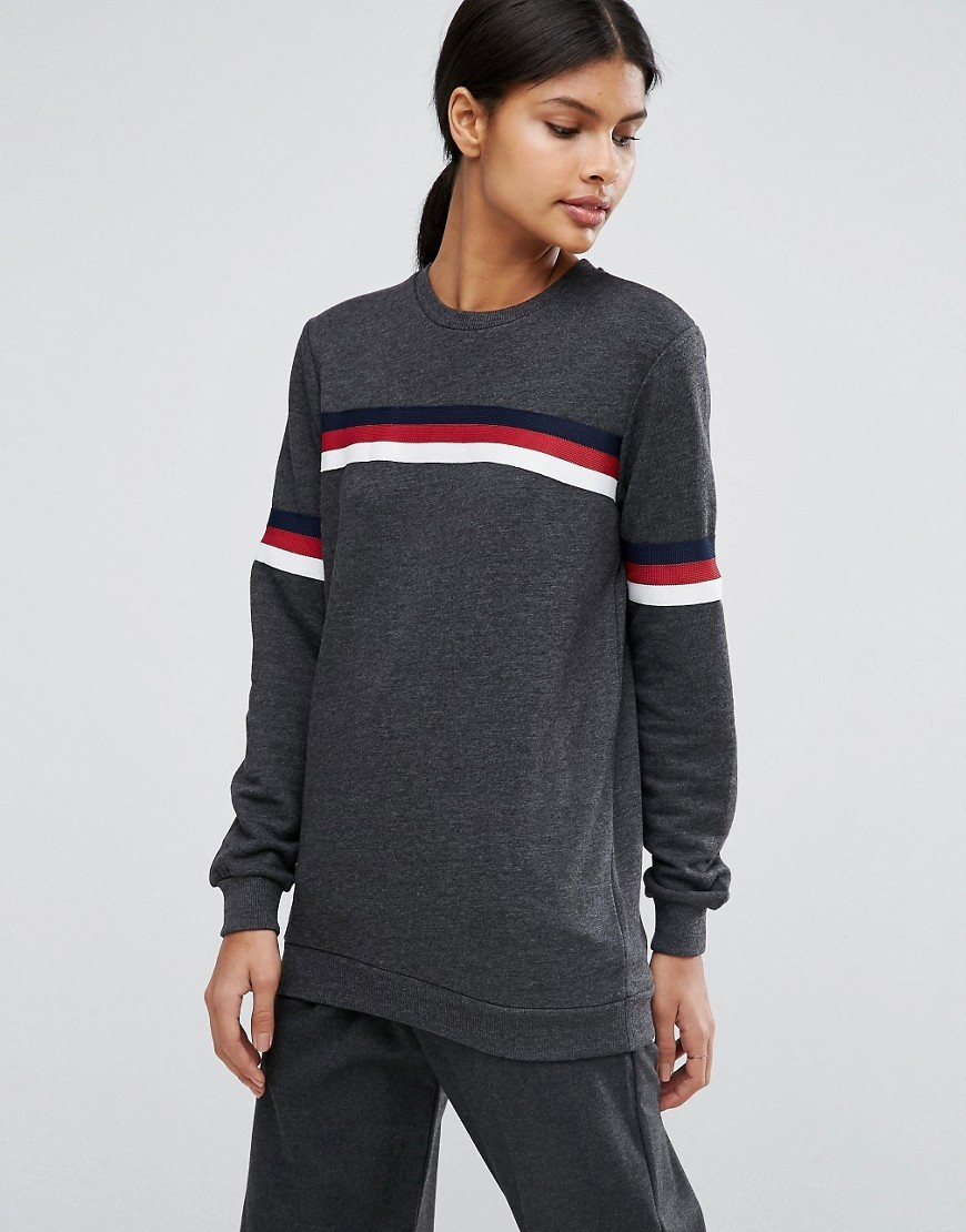 Sweatshirt With Stripe Tipping Charcoal - pattern: horizontal stripes; style: sweat top; secondary colour: true red; predominant colour: charcoal; occasions: casual; length: standard; fibres: cotton - stretch; fit: loose; neckline: crew; sleeve length: long sleeve; sleeve style: standard; pattern type: fabric; pattern size: standard; texture group: jersey - stretchy/drapey; season: a/w 2016; wardrobe: highlight