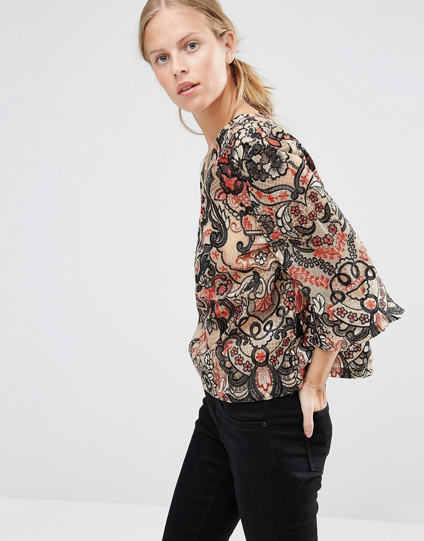 City Hall Lace Top In Camel Camel - sleeve style: dolman/batwing; style: blouse; predominant colour: coral; secondary colour: black; occasions: casual, creative work; length: standard; fibres: polyester/polyamide - 100%; fit: loose; neckline: crew; sleeve length: 3/4 length; pattern type: fabric; pattern size: standard; pattern: patterned/print; texture group: woven bulky/heavy; season: a/w 2016; wardrobe: highlight