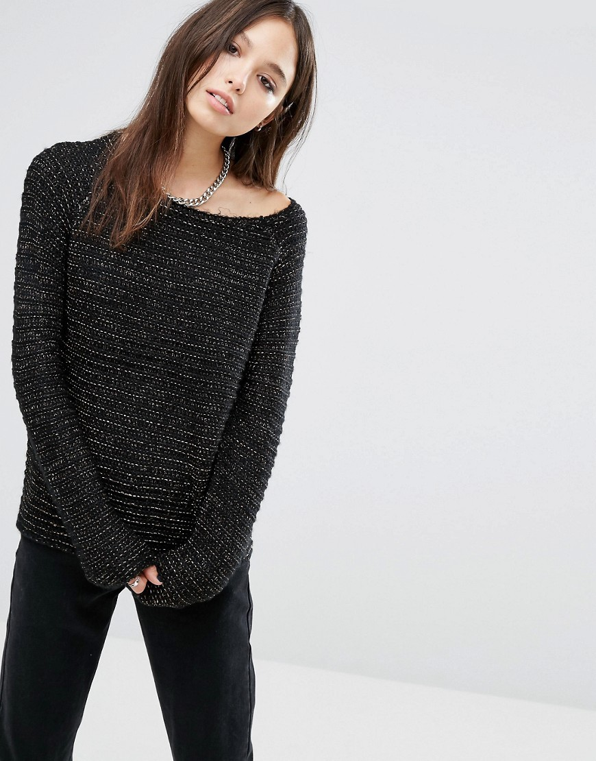 Horizontal Rib Jumper Black/Gold/Bronze - neckline: round neck; pattern: plain; style: standard; predominant colour: black; occasions: casual; length: standard; fibres: acrylic - 100%; fit: standard fit; sleeve length: long sleeve; sleeve style: standard; texture group: knits/crochet; pattern type: knitted - other; season: a/w 2016