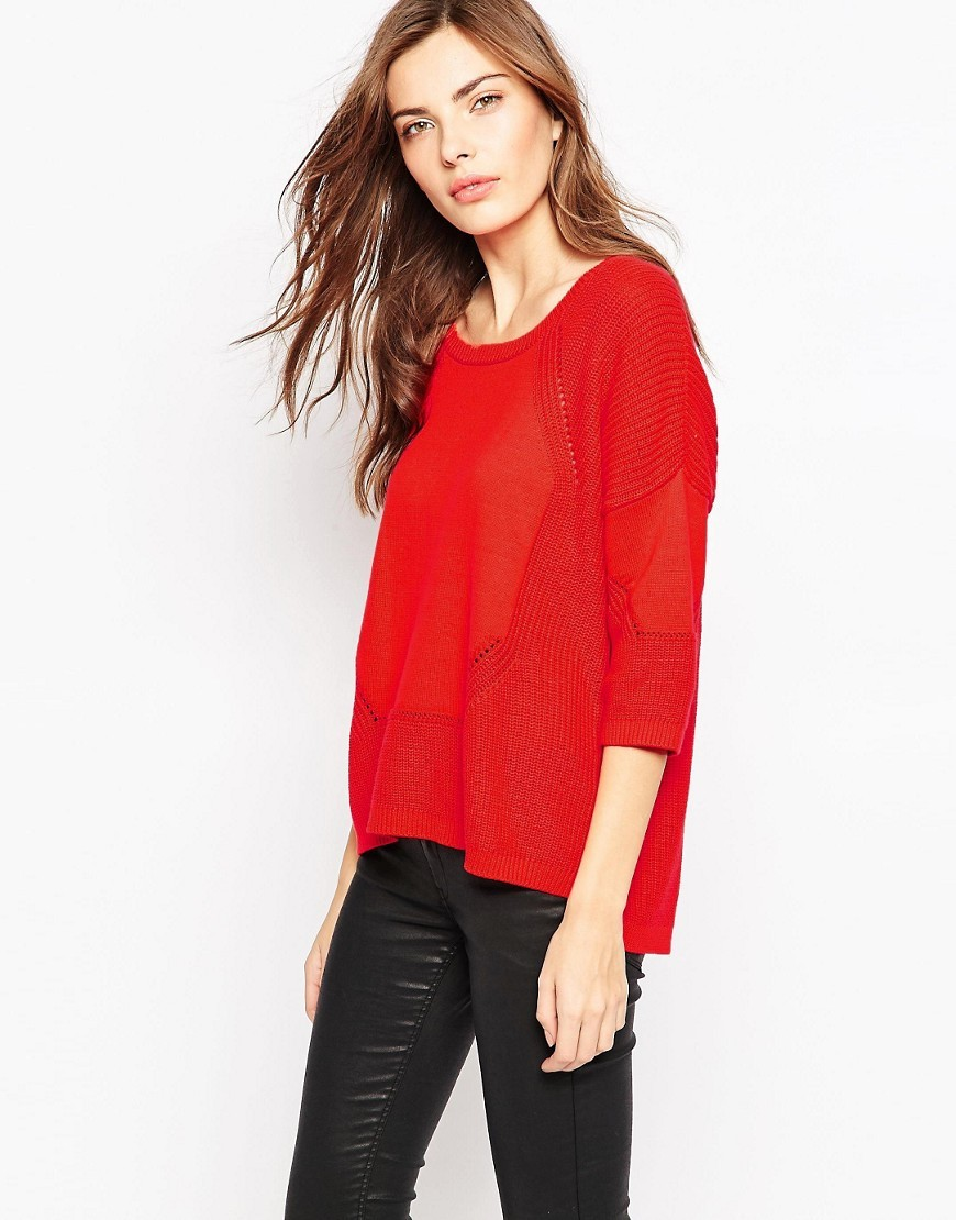 Rimsky 3/4 Sleeve Jumper In Red Riot Red - neckline: round neck; pattern: plain; style: standard; predominant colour: true red; occasions: casual, creative work; length: standard; fibres: cotton - 100%; fit: loose; sleeve length: 3/4 length; sleeve style: standard; texture group: knits/crochet; pattern type: knitted - fine stitch; season: a/w 2016; wardrobe: highlight