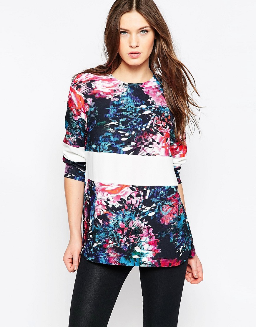 After Party Long Sleeve Crepe Tunic Black Multi - length: below the bottom; secondary colour: pink; predominant colour: turquoise; occasions: casual; style: top; fibres: polyester/polyamide - 100%; fit: body skimming; neckline: crew; waist detail: feature waist detail; sleeve length: 3/4 length; sleeve style: standard; pattern type: fabric; pattern: patterned/print; texture group: jersey - stretchy/drapey; multicoloured: multicoloured; season: a/w 2016; wardrobe: highlight
