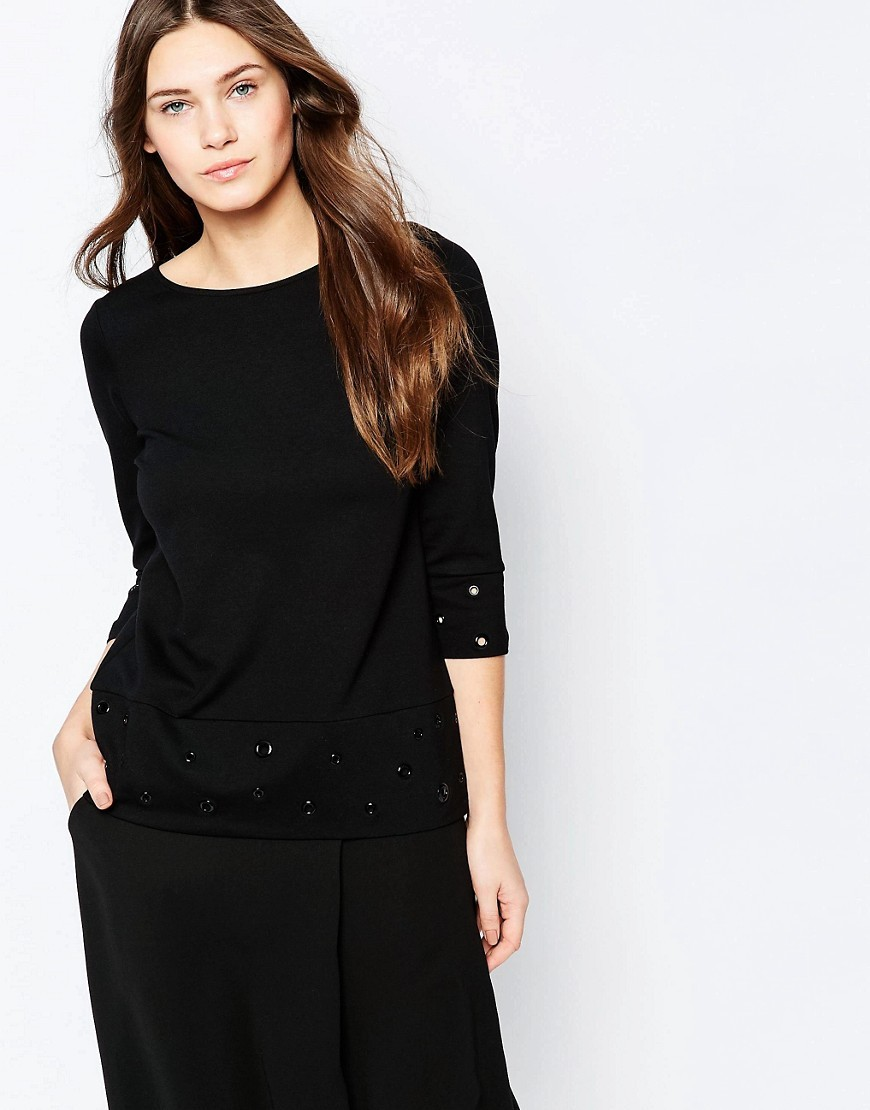 Ele Eyelet Slash Neck Top Black/Black - neckline: round neck; pattern: plain; predominant colour: black; occasions: casual, creative work; length: standard; style: top; fibres: viscose/rayon - 100%; fit: body skimming; sleeve length: 3/4 length; sleeve style: standard; pattern type: fabric; texture group: jersey - stretchy/drapey; wardrobe: basic; season: a/w 2016