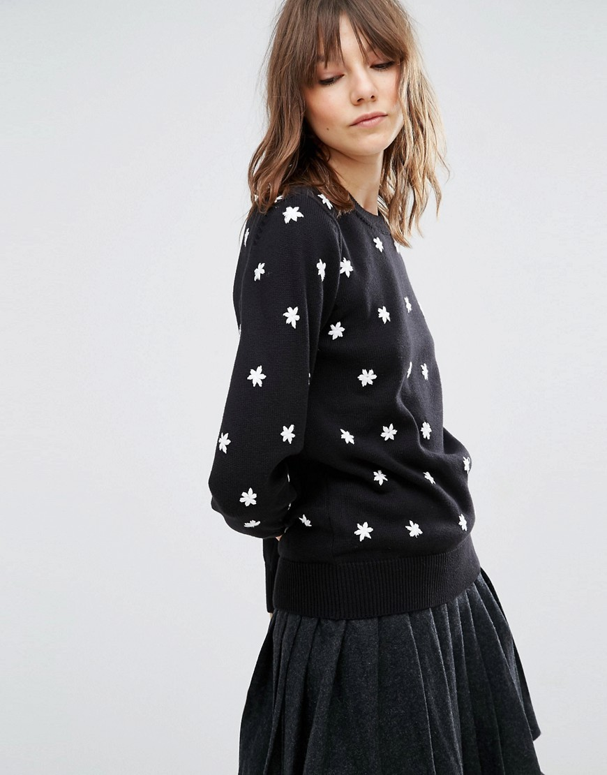 Star Embroidery Jumper In Mono Black/White - pattern: plain; style: standard; predominant colour: black; occasions: casual, creative work; length: standard; fibres: cotton - 100%; fit: standard fit; neckline: crew; sleeve length: long sleeve; sleeve style: standard; texture group: knits/crochet; pattern type: knitted - fine stitch; embellishment: embroidered; season: a/w 2016; wardrobe: highlight; embellishment location: all over