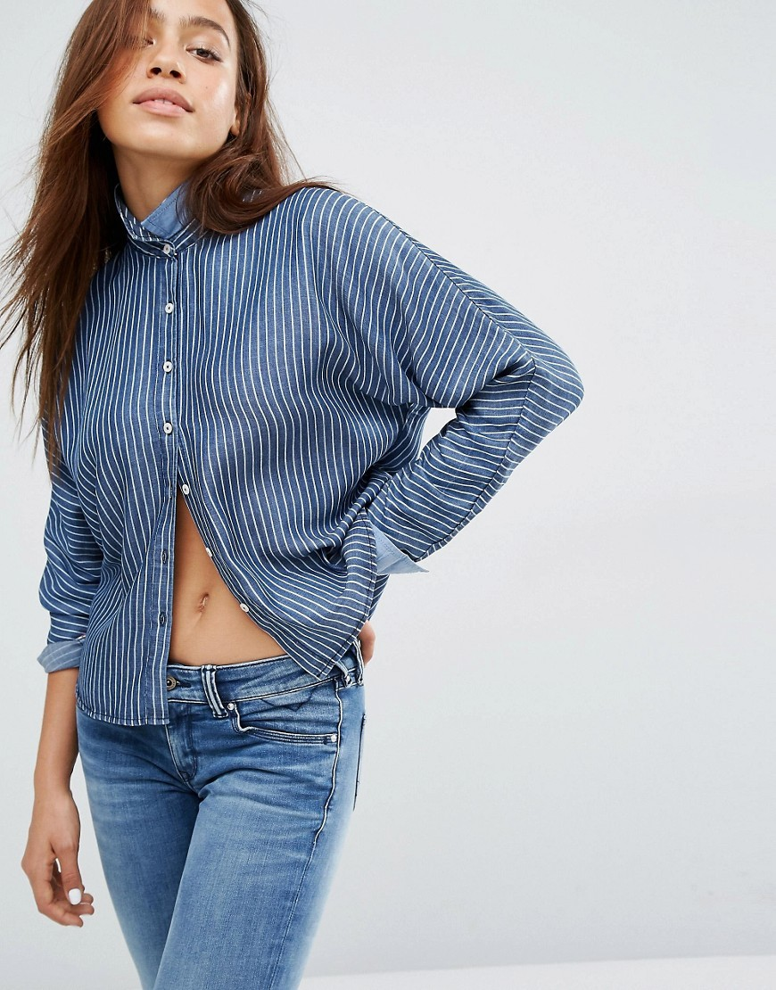 Hilfiger Pinstripe Cropped Shirt Indigo Stripe - length: cropped; style: shirt; pattern: pinstripe; predominant colour: denim; occasions: casual; neckline: collarstand; fibres: viscose/rayon - 100%; fit: body skimming; sleeve length: long sleeve; sleeve style: standard; pattern type: fabric; texture group: other - light to midweight; season: a/w 2016; wardrobe: highlight