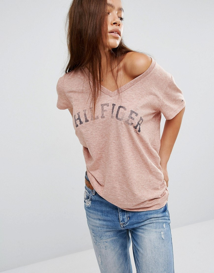 Logo T Shirt With V Neck Rose Heather - neckline: low v-neck; style: t-shirt; predominant colour: blush; occasions: casual; length: standard; fibres: cotton - 100%; fit: loose; sleeve length: short sleeve; sleeve style: standard; pattern type: fabric; pattern size: standard; texture group: jersey - stretchy/drapey; pattern: graphic/slogan; season: a/w 2016