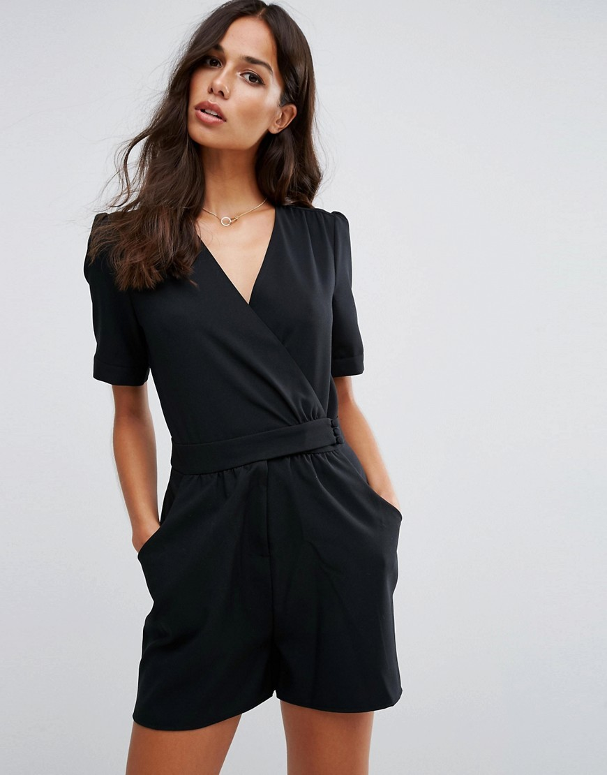 40's Wrap Tea Playsuit Black - neckline: v-neck; pattern: plain; length: short shorts; predominant colour: black; occasions: evening; fit: body skimming; fibres: polyester/polyamide - 100%; sleeve length: short sleeve; sleeve style: standard; style: playsuit; pattern type: fabric; texture group: jersey - stretchy/drapey; season: a/w 2016; wardrobe: event