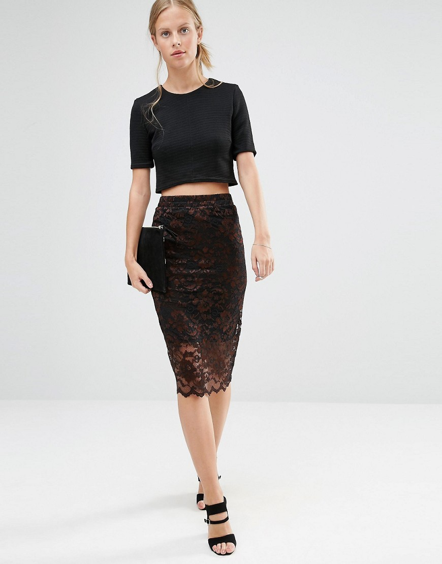 Lace Skirt With Scallop Hem In Black Black/Potting Soil - length: below the knee; style: pencil; fit: tailored/fitted; waist: high rise; predominant colour: black; occasions: evening, occasion; fibres: polyester/polyamide - mix; texture group: lace; pattern type: fabric; pattern: patterned/print; embellishment: lace; pattern size: standard (bottom); season: a/w 2016; wardrobe: event