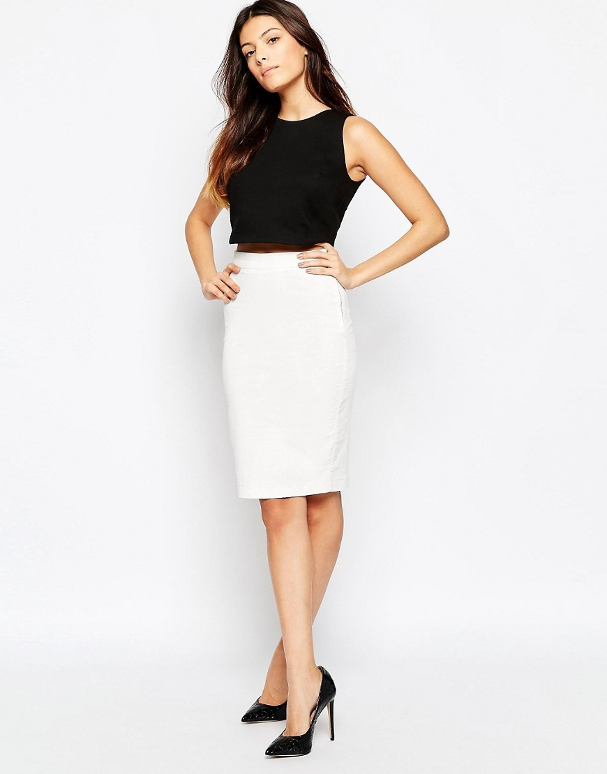 Cobra Foil Pencil Skirt Winter White/Wht - pattern: plain; style: pencil; fit: tailored/fitted; waist: high rise; predominant colour: white; occasions: work, occasion; length: on the knee; fibres: cotton - mix; texture group: cotton feel fabrics; pattern type: fabric; wardrobe: basic; season: a/w 2016