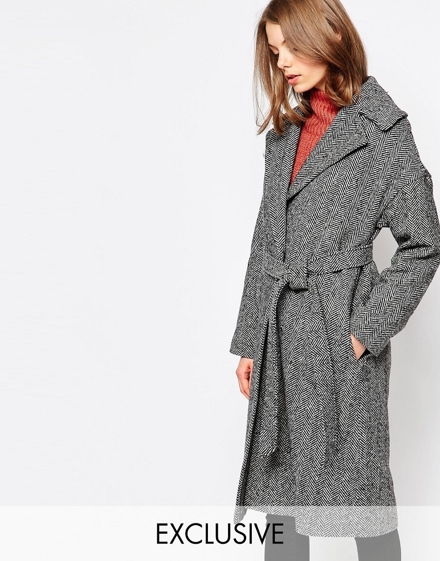 Herringbone Coat With Oversized Collar Grey/Black - pattern: plain; fit: loose; style: wrap around; collar: standard lapel/rever collar; predominant colour: mid grey; occasions: casual; fibres: wool - mix; length: below the knee; waist detail: belted waist/tie at waist/drawstring; sleeve length: long sleeve; sleeve style: standard; texture group: knits/crochet; collar break: medium; pattern type: knitted - other; season: a/w 2016