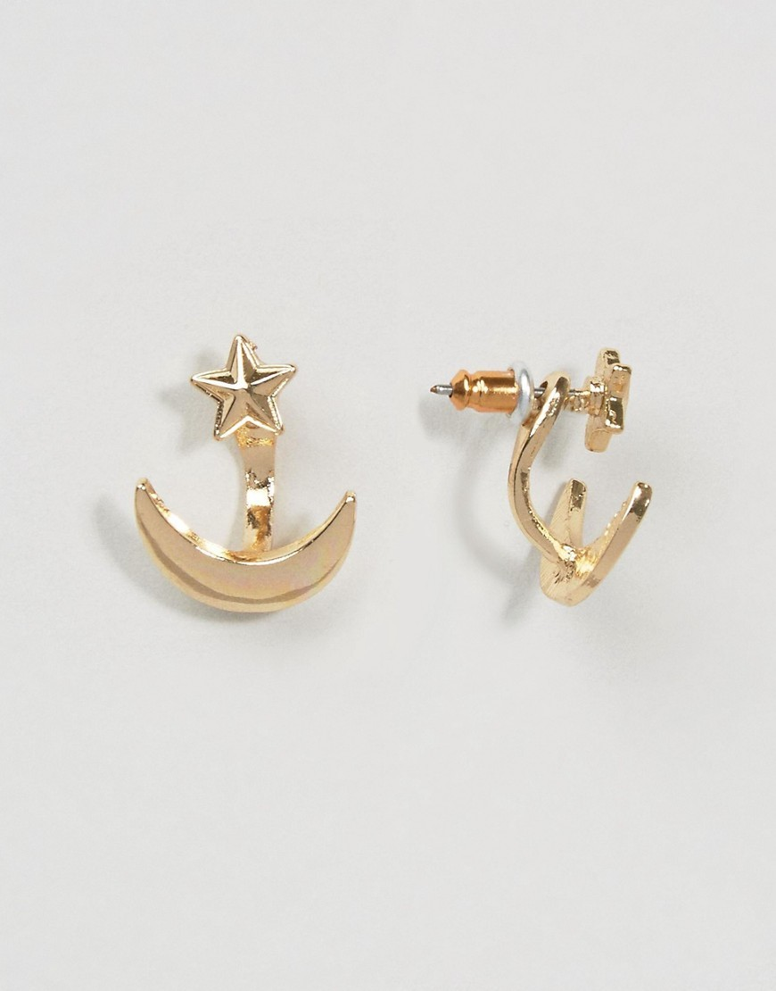Moon & Star Swing Earrings Crystal - predominant colour: gold; occasions: casual, creative work; style: stud; length: short; size: small/fine; material: chain/metal; fastening: pierced; finish: metallic; wardrobe: basic; season: a/w 2016