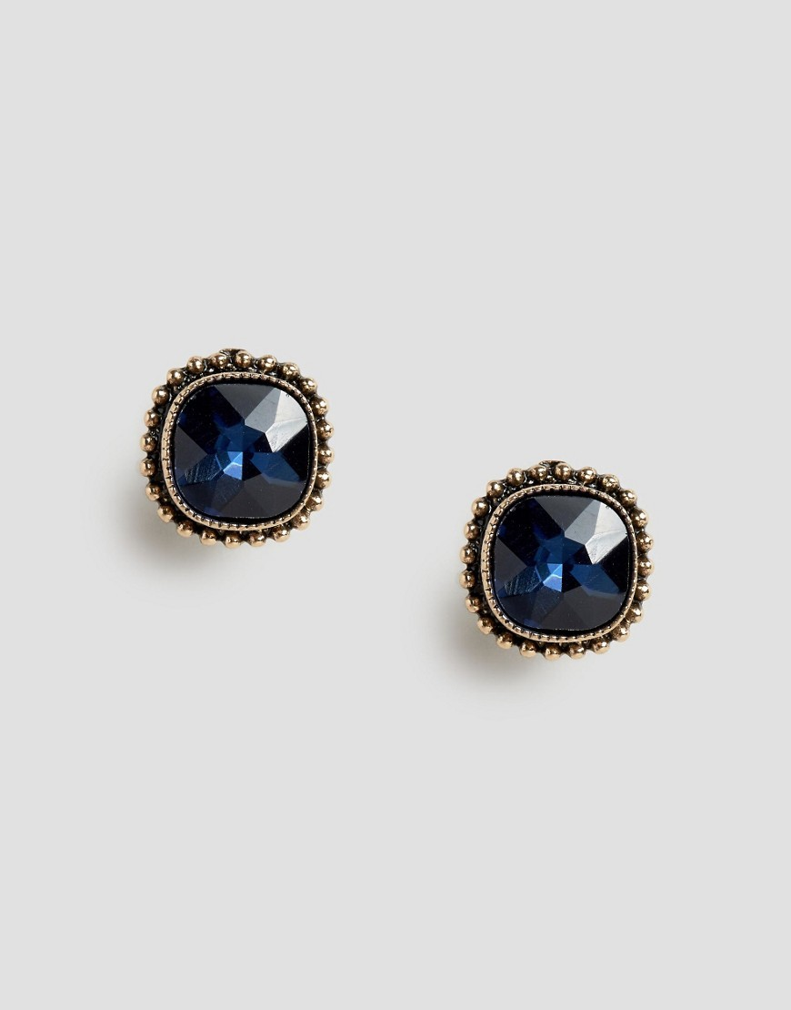 Durivagez Stud Earrings Gold - predominant colour: navy; occasions: evening, occasion; style: stud; length: short; size: standard; material: chain/metal; fastening: pierced; finish: plain; embellishment: jewels/stone; season: a/w 2016; wardrobe: event