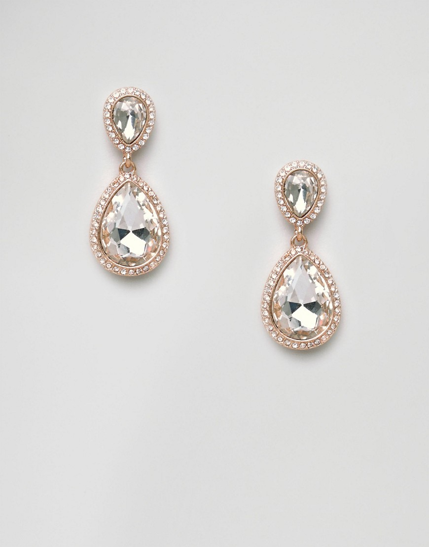 Diamond Drop Earrings Clear/Gold - predominant colour: gold; occasions: evening; style: drop; length: long; size: standard; material: chain/metal; fastening: pierced; finish: metallic; embellishment: crystals/glass; season: a/w 2016; wardrobe: event