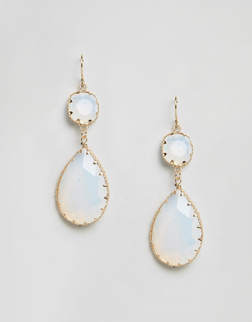 Edirerwen Drop Earrings White - predominant colour: white; occasions: evening, occasion; style: drop; length: mid; size: standard; material: chain/metal; fastening: pierced; finish: plain; embellishment: jewels/stone; season: a/w 2016; wardrobe: event