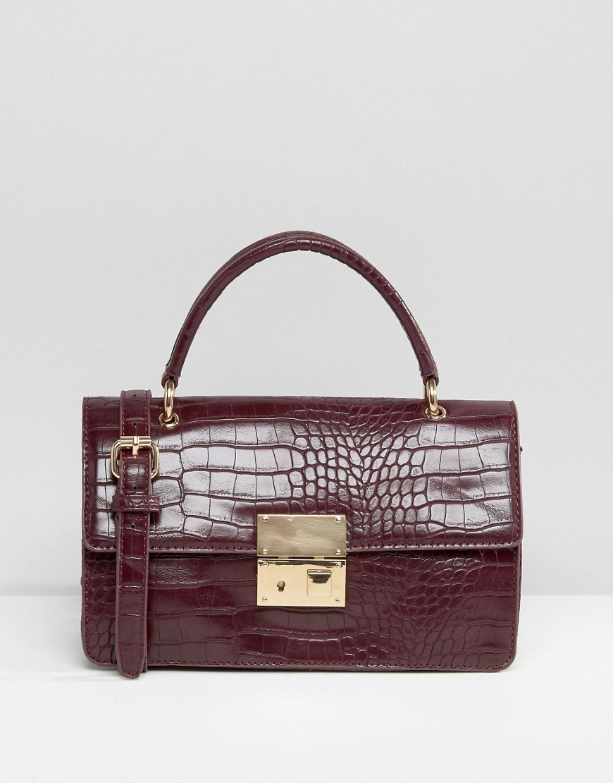 Tote Bag Burg Croc - predominant colour: burgundy; occasions: casual, work, creative work; type of pattern: standard; style: tote; length: handle; size: standard; material: faux leather; pattern: animal print; finish: patent; season: a/w 2016; wardrobe: highlight