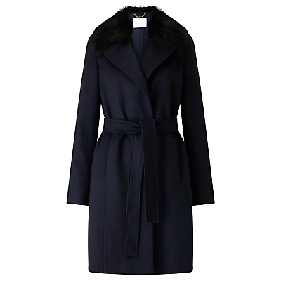 Boss Canika Wool Coat, Open Blue - pattern: plain; collar: wide lapels; style: wrap around; length: mid thigh; predominant colour: navy; occasions: work; fit: tailored/fitted; fibres: wool - mix; waist detail: belted waist/tie at waist/drawstring; sleeve length: long sleeve; sleeve style: standard; collar break: medium; pattern type: fabric; texture group: woven bulky/heavy; season: a/w 2016