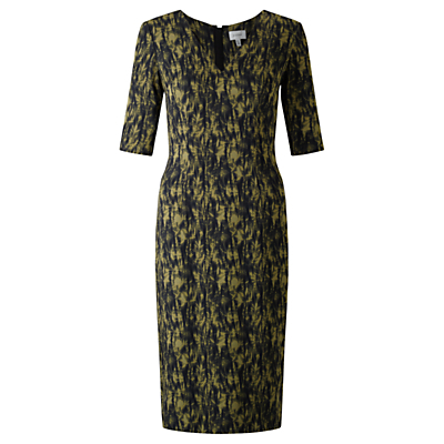 Cyanograph Floral Dress, Golden Moss - style: shift; neckline: v-neck; secondary colour: gold; predominant colour: black; occasions: evening; length: on the knee; fit: body skimming; sleeve length: 3/4 length; sleeve style: standard; texture group: silky - light; pattern type: fabric; pattern: patterned/print; fibres: silk - stretch; multicoloured: multicoloured; season: a/w 2016; wardrobe: event
