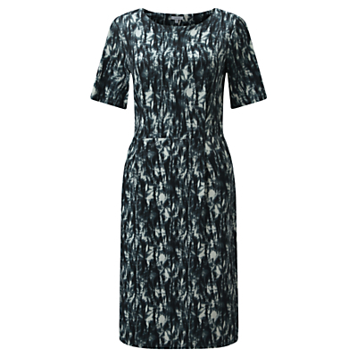 Cyanography Shift Dress, Petrol - style: shift; secondary colour: white; predominant colour: navy; occasions: evening; length: on the knee; fit: body skimming; fibres: viscose/rayon - stretch; neckline: crew; sleeve length: short sleeve; sleeve style: standard; pattern type: fabric; pattern: patterned/print; texture group: jersey - stretchy/drapey; multicoloured: multicoloured; season: a/w 2016