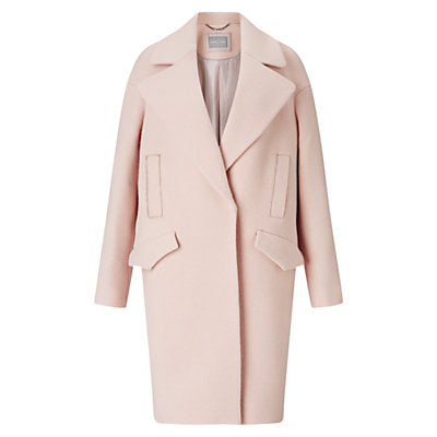 Lily Wool Cocoon Coat, Pale Pink - pattern: plain; collar: wide lapels; fit: loose; predominant colour: nude; occasions: casual, work, creative work; style: cocoon; fibres: wool - mix; length: below the knee; sleeve length: long sleeve; sleeve style: standard; collar break: medium; pattern type: fabric; texture group: woven bulky/heavy; wardrobe: basic; season: a/w 2016