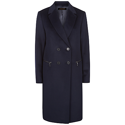 Wool Double Breasted Zip Coat, Midnight - pattern: plain; style: double breasted; length: on the knee; fit: slim fit; collar: standard lapel/rever collar; predominant colour: navy; occasions: casual; fibres: wool - 100%; sleeve length: long sleeve; sleeve style: standard; collar break: medium; pattern type: fabric; texture group: woven bulky/heavy; season: a/w 2016