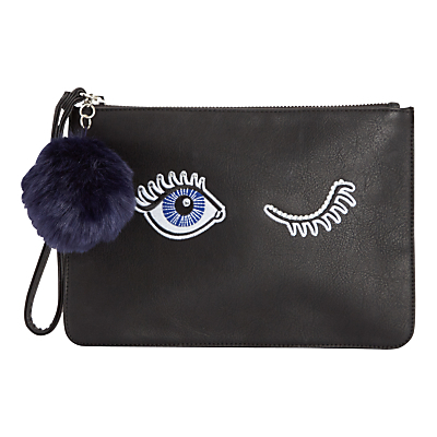 Eye Clutch Bag, Black - secondary colour: navy; predominant colour: black; occasions: evening; type of pattern: standard; style: clutch; length: hand carry; size: small; material: faux leather; pattern: plain; finish: plain; season: a/w 2016; wardrobe: event