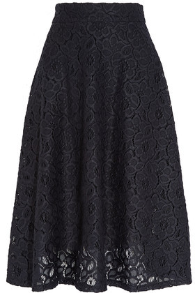 Guipure Lace Midi Skirt Midnight Blue - length: below the knee; pattern: plain; style: full/prom skirt; fit: loose/voluminous; waist: mid/regular rise; predominant colour: navy; occasions: evening; fibres: polyester/polyamide - 100%; texture group: lace; pattern type: fabric; embellishment: lace; season: a/w 2016; wardrobe: event