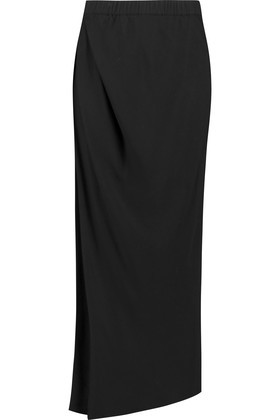 Crepe Midi Skirt Black - length: calf length; pattern: plain; style: straight; fit: tailored/fitted; waist: mid/regular rise; predominant colour: black; occasions: evening; fibres: viscose/rayon - 100%; texture group: crepes; pattern type: fabric; season: a/w 2016; wardrobe: event