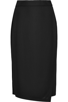 Wrap Effect Stretch Crepe Skirt Black - pattern: plain; style: pencil; fit: tailored/fitted; waist: mid/regular rise; predominant colour: black; occasions: work; length: on the knee; fibres: polyester/polyamide - stretch; texture group: crepes; pattern type: fabric; wardrobe: basic; season: a/w 2016
