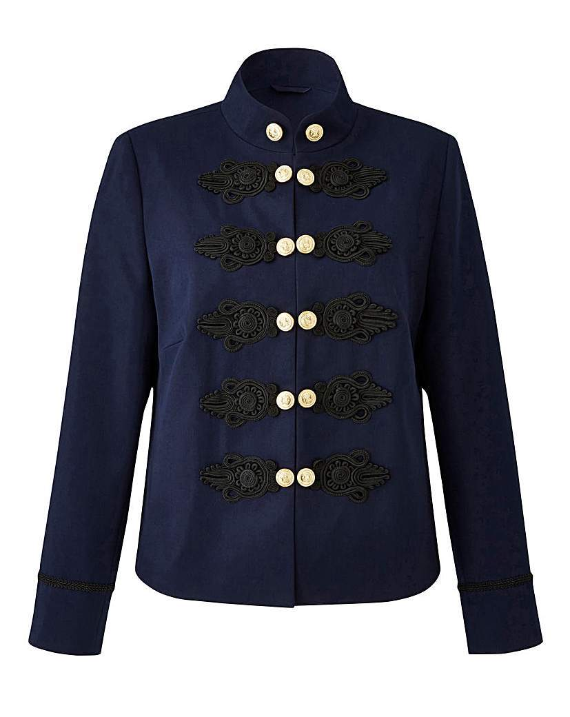 Joanna Hope Military Jacket - pattern: plain; collar: high neck; predominant colour: navy; secondary colour: black; occasions: casual, creative work; length: standard; fit: tailored/fitted; fibres: polyester/polyamide - mix; sleeve length: long sleeve; sleeve style: standard; collar break: high; pattern type: fabric; pattern size: standard; texture group: woven light midweight; style: single breasted military jacket; season: a/w 2016; wardrobe: highlight; trends: military; embellishment location: bust