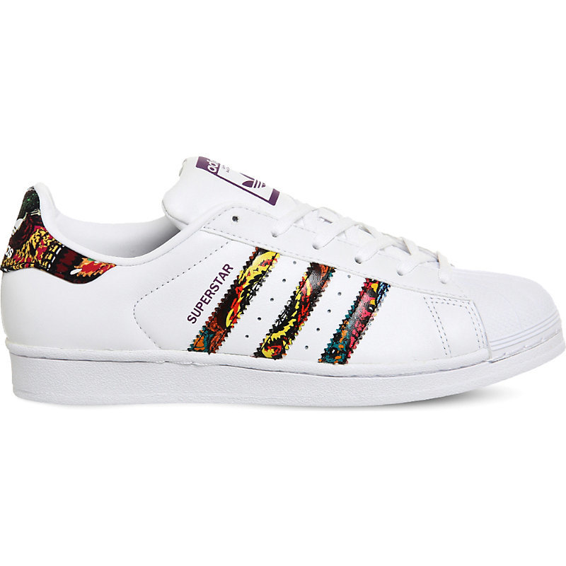 Superstar 1 Leather Trainers, Women's, White Floral W - predominant colour: white; occasions: casual; material: leather; heel height: flat; toe: round toe; style: trainers; finish: plain; pattern: patterned/print; season: a/w 2016