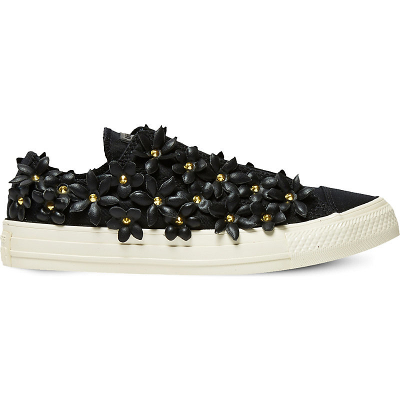 All Star Floral Embellished Low Top Trainers, Women's, Patbo Black Floral - predominant colour: black; occasions: casual; material: leather; heel height: flat; embellishment: crystals/glass; toe: round toe; style: trainers; finish: plain; pattern: patterned/print; shoe detail: moulded soul; season: a/w 2016; wardrobe: highlight