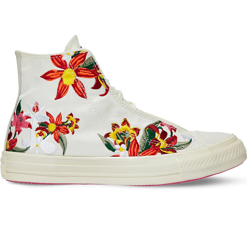 All Star Floral Embroidered High Top Trainers, Women's, 6.5, Patbo White Floral - predominant colour: ivory/cream; occasions: casual; material: fabric; heel height: flat; toe: round toe; style: trainers; finish: plain; pattern: patterned/print; shoe detail: moulded soul; multicoloured: multicoloured; season: a/w 2016; wardrobe: highlight