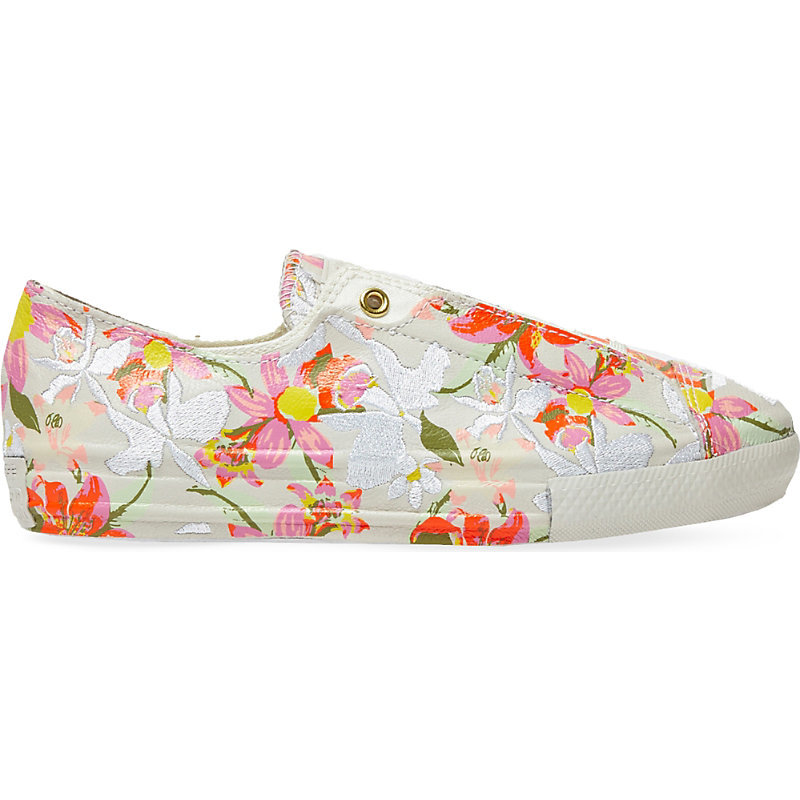 Ctas Floral Print Leather Low Top Trainers, Women's, Patbo White Floral - predominant colour: ivory/cream; occasions: casual; material: leather; heel height: flat; toe: round toe; style: trainers; finish: plain; pattern: patterned/print; season: a/w 2016; wardrobe: highlight